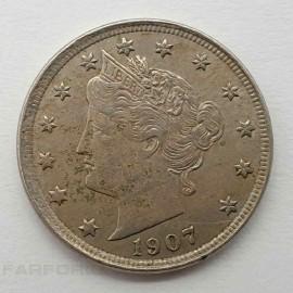 5 центов 1907 года. США.