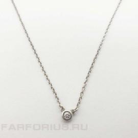 Серебряная подвеска с бриллиантом. Дизайн Эльзы Перетти от Tiffany&Co
