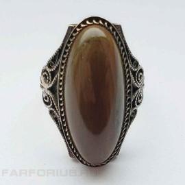 Серебряное кольцо 916 пробы с яшмой